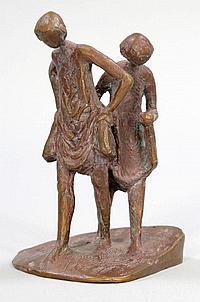 Manfred Welzel 1926 Berlin - Zwei Kinder - Bronze.