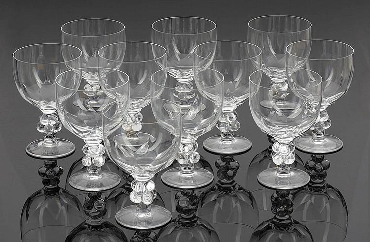 11 Weingläser Clos Vougeot. Lalique. Wingen-s...
