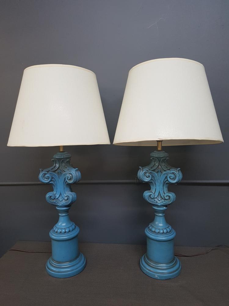 Pair of Blue Ceramic Capital Lamps