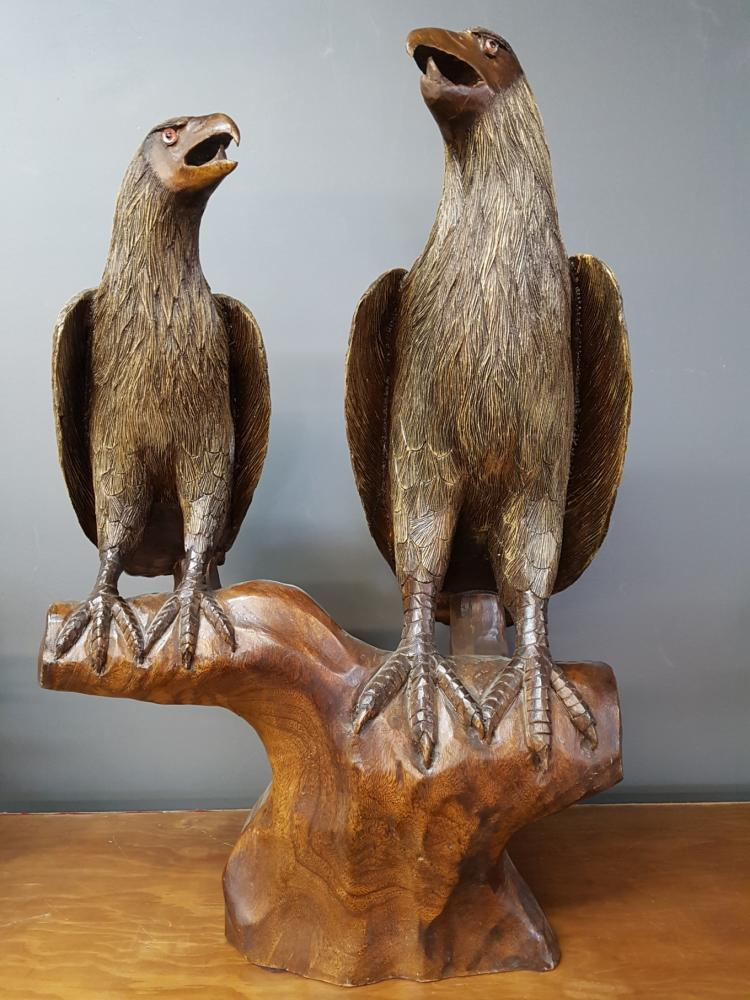 Large Carved Wooden Eagles with Glass Eyes