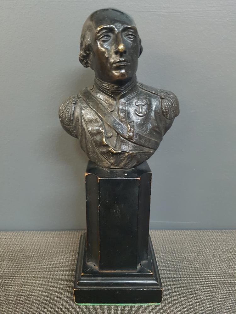 Bronze Bust of Navy Captain on Wood Pedestal, 19th Century