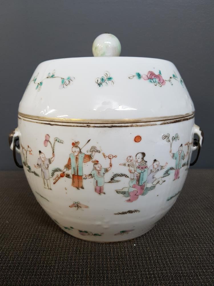 Chinese Lidded Porcelain Tureen with Metal Handles, Jade Top