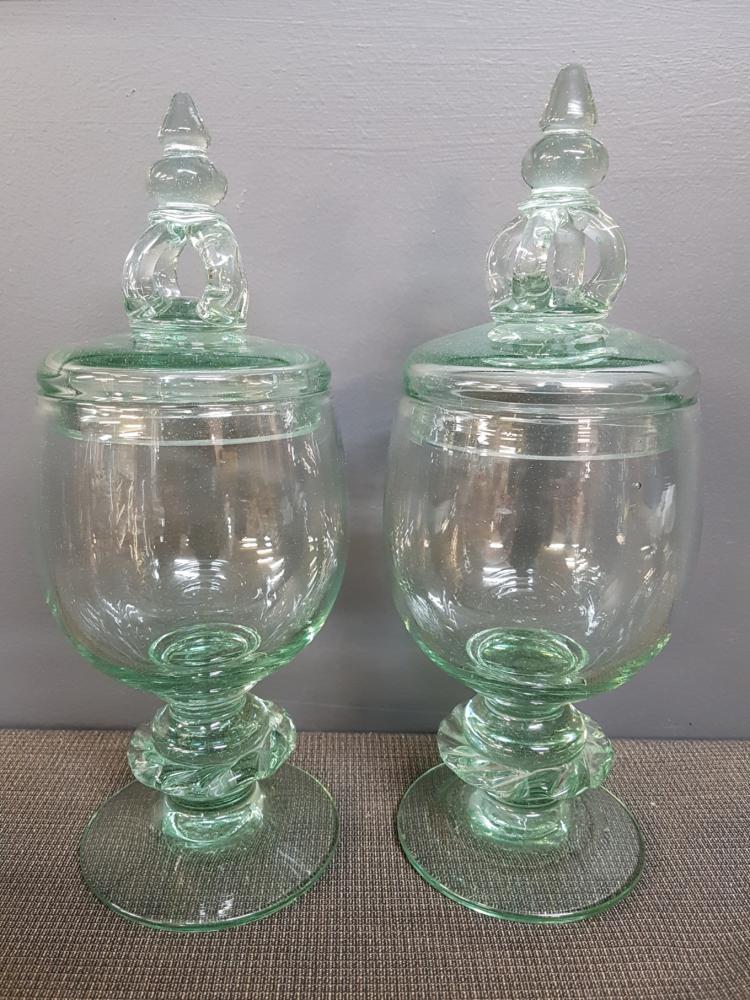 Venetian Green Glass Apothecary Jar Urns