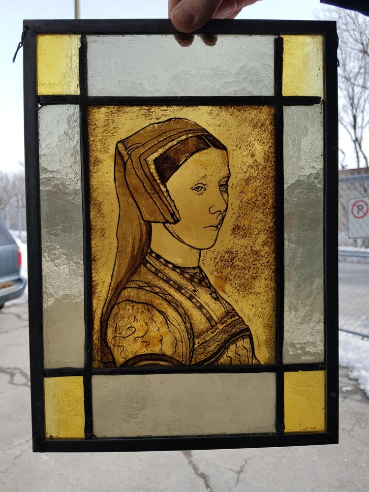 Two Handpainted Stained Glass Panels