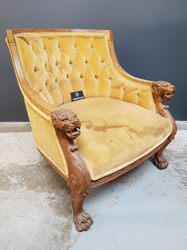 Antique Lion's Head Library Chair