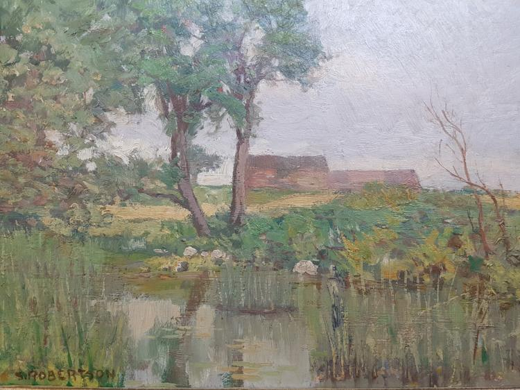 Oil on Board Landscape Attributed to Sarah Robertson (Canadian, 1891-1948)