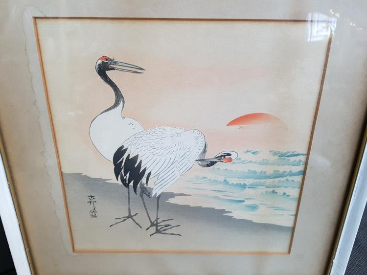 19th Century Chinese Watercolor of Cranes, Signed
