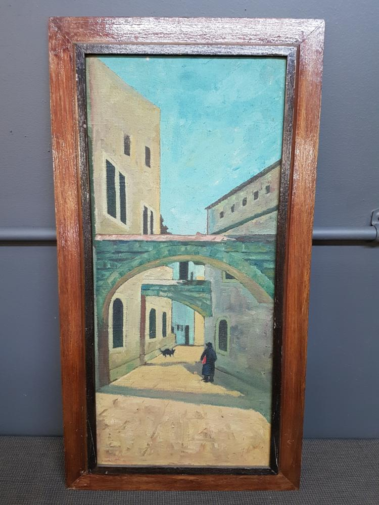 Israeli Street Scene with Cat Signed Mid-Century Oil on Masonite