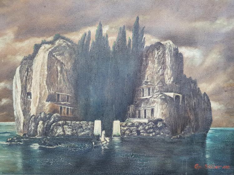 Landscape Oil on Canvas Signed Cop Miller, 1932