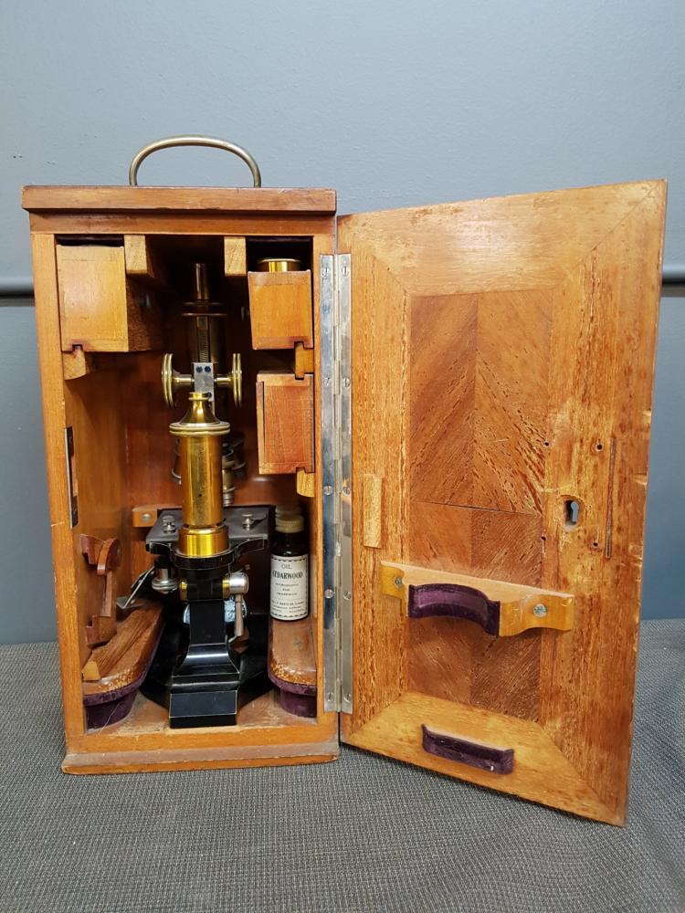 E Leitz Wetzlar Antique Brass Microscope with Box and Lenses