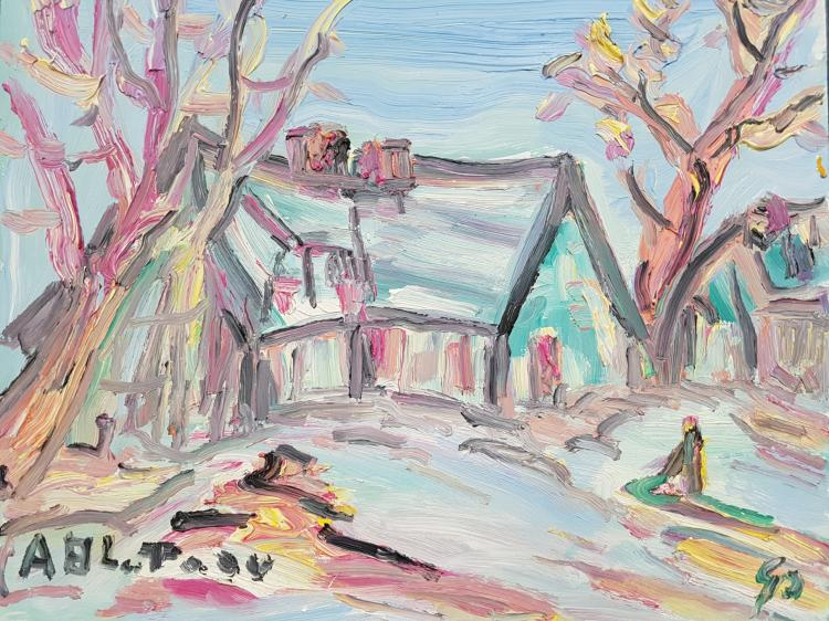 A. Bluteau Oil on Masonite Figural Landscape House with Trees