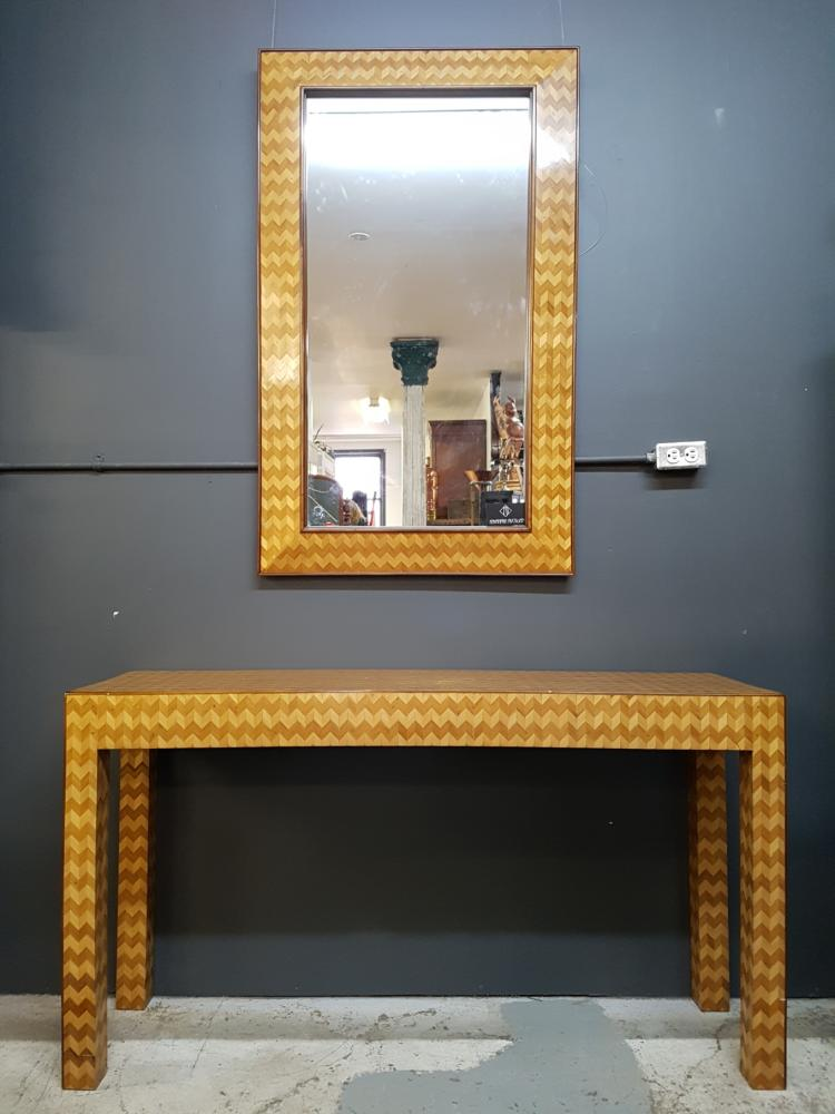 Modernist Herringbone Console Table and Mirror