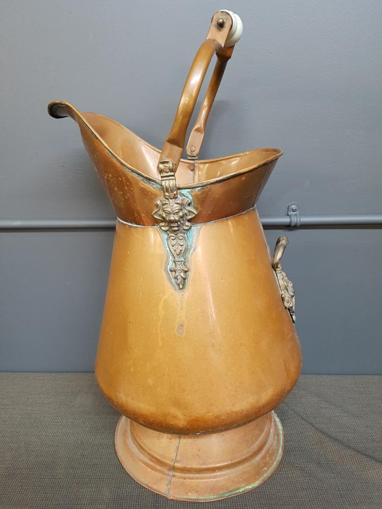 Large Copper Pitcher with Porcelain Handle