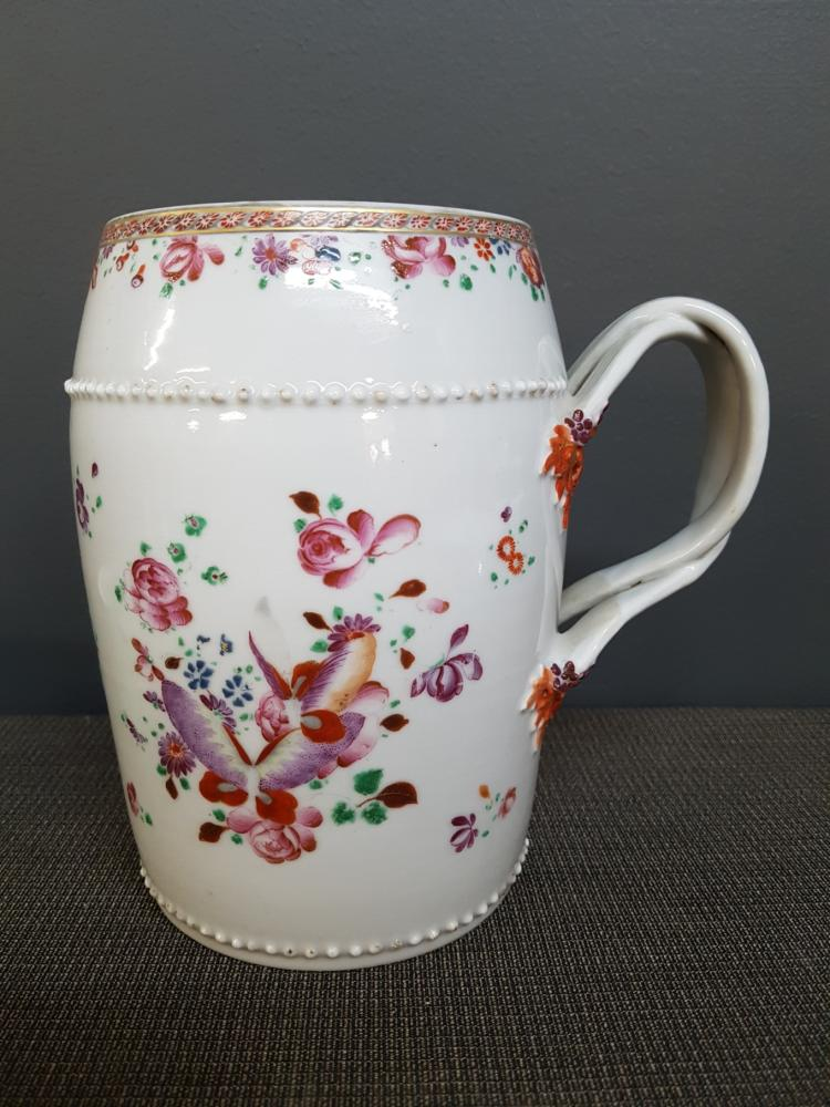 Antique Chinese Floral Jug, Raised and Handpainted Decoration