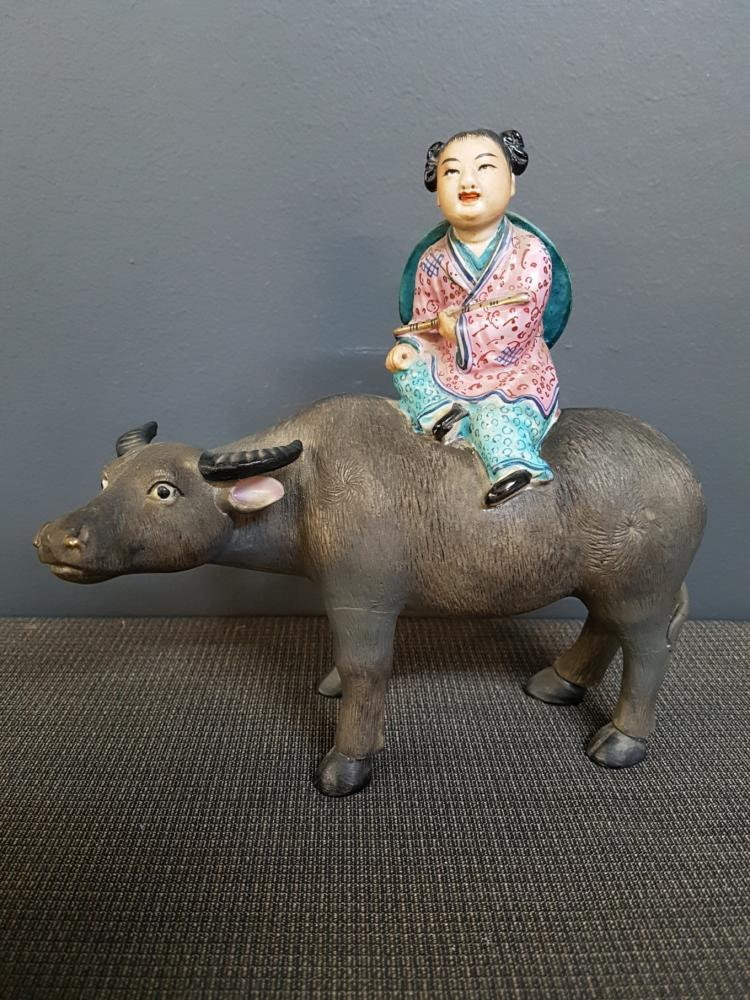 Chinese Porcelain Statue of Girl Riding Bull, Handpainted