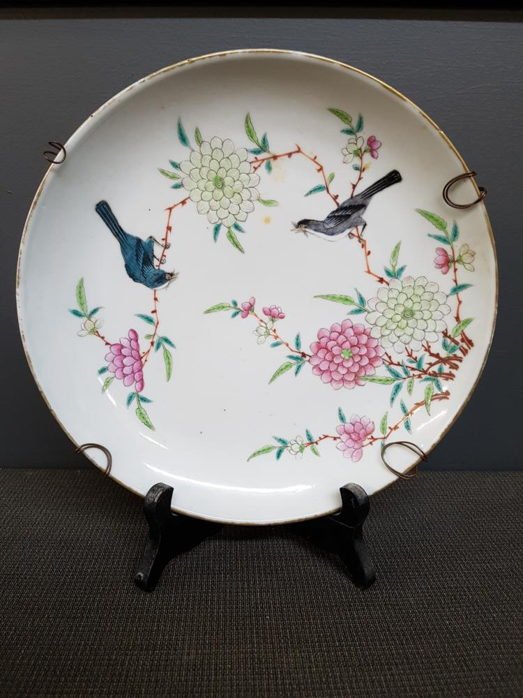 Famille Rose Chinese Plate with Birds on Branches