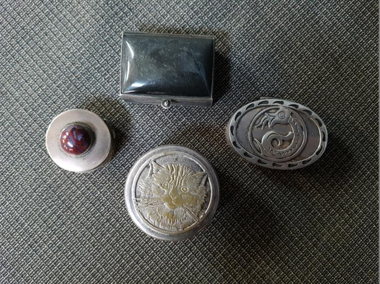 Lot of 4 Pill Boxes, 3 Sterling