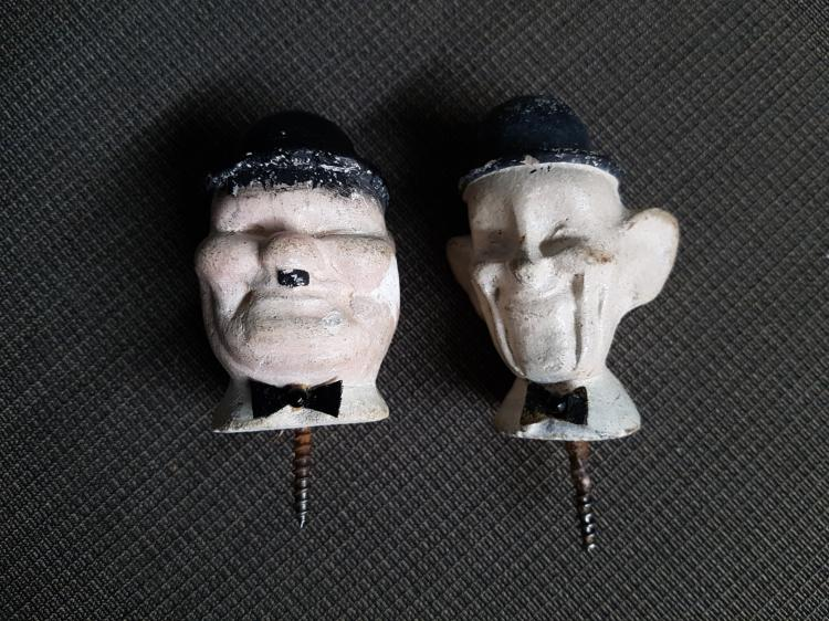 Vintage Laurel and Hardy Plaster Heads