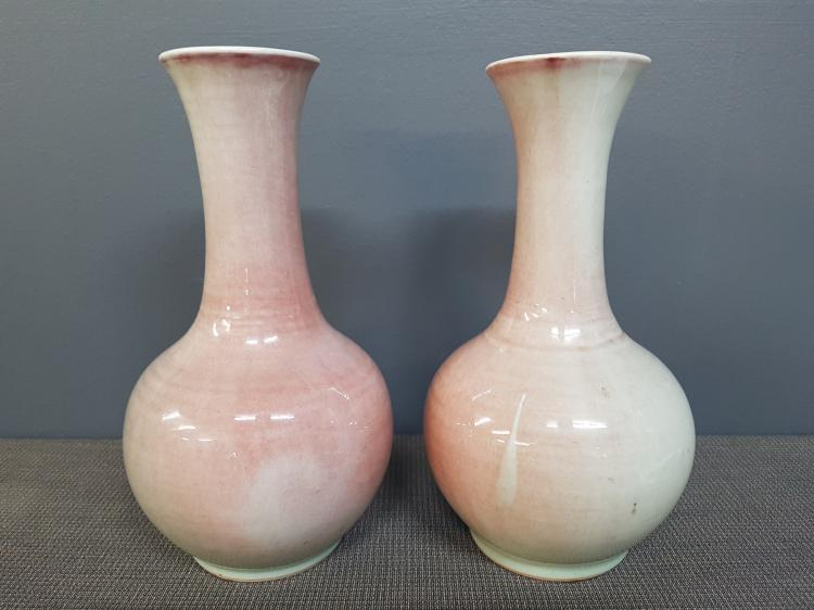Pair of Chinese Peachbloom Vases with Kangxi Mark