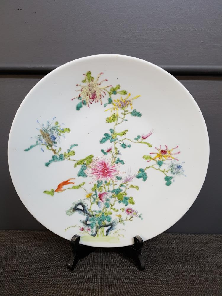 Antique Chinese Floral Charger, Handpainted