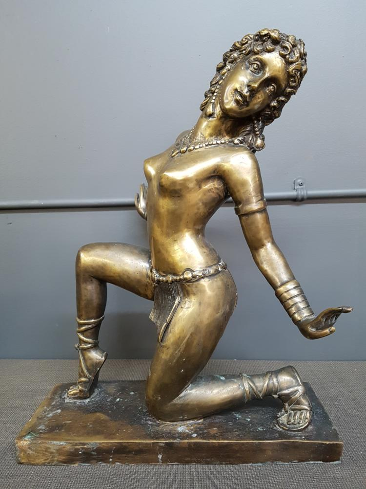 Large Vintage Bronze Nude Dancer Signed Bruno Yartel