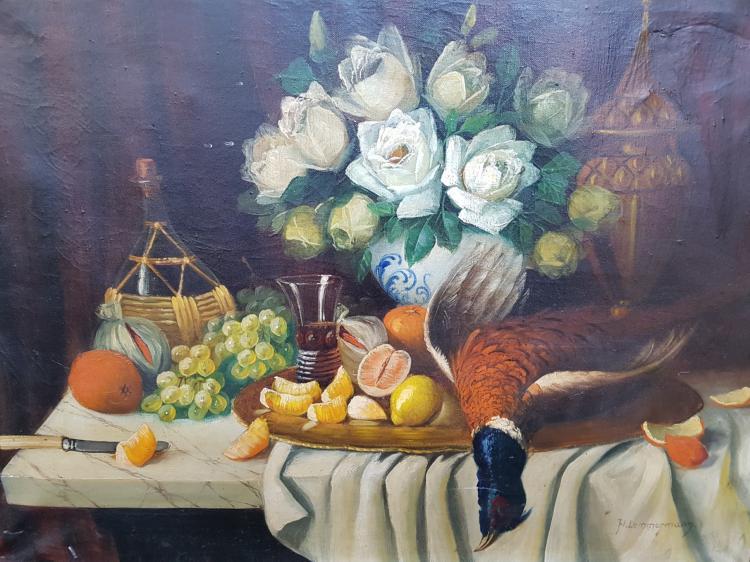 Nature Mort Still Life Oil on Canvas Signed H. Lemmermann