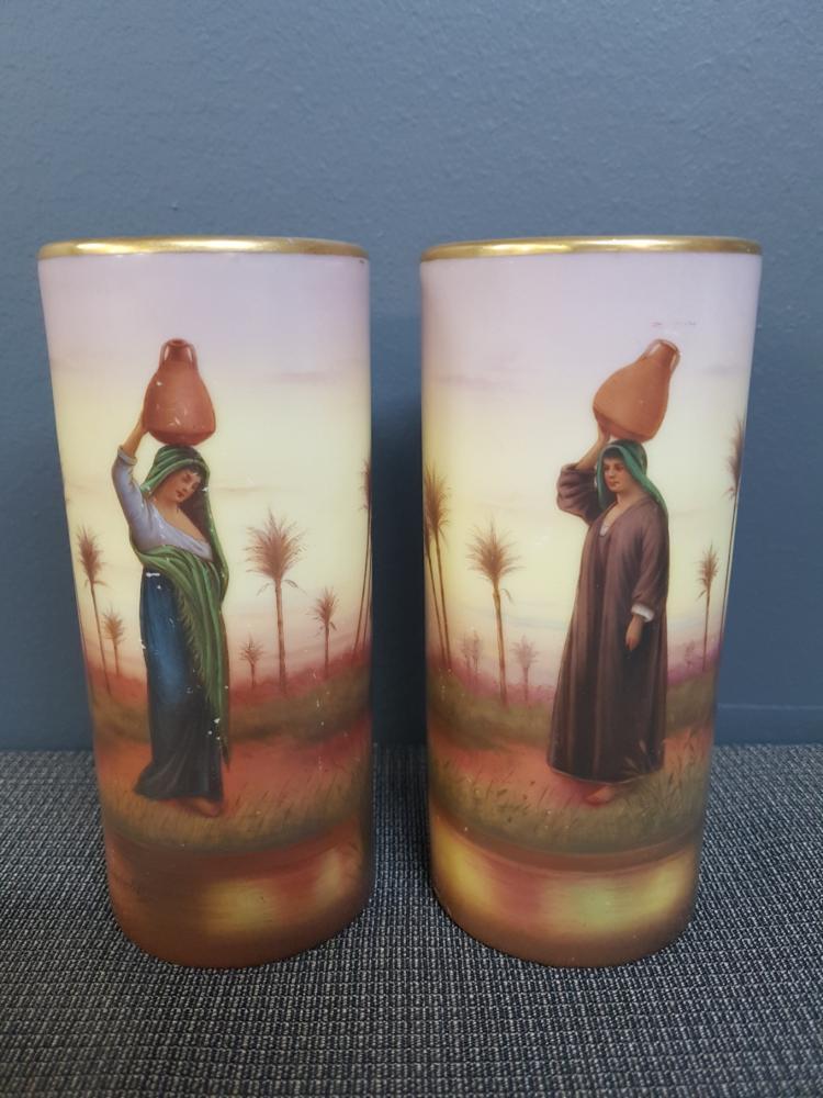 Pair of Fella Ware Hand Decorated Vases