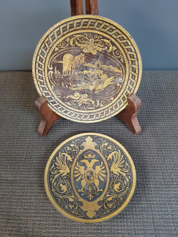 Lot of Two Spanish Damascene Footed Dishes