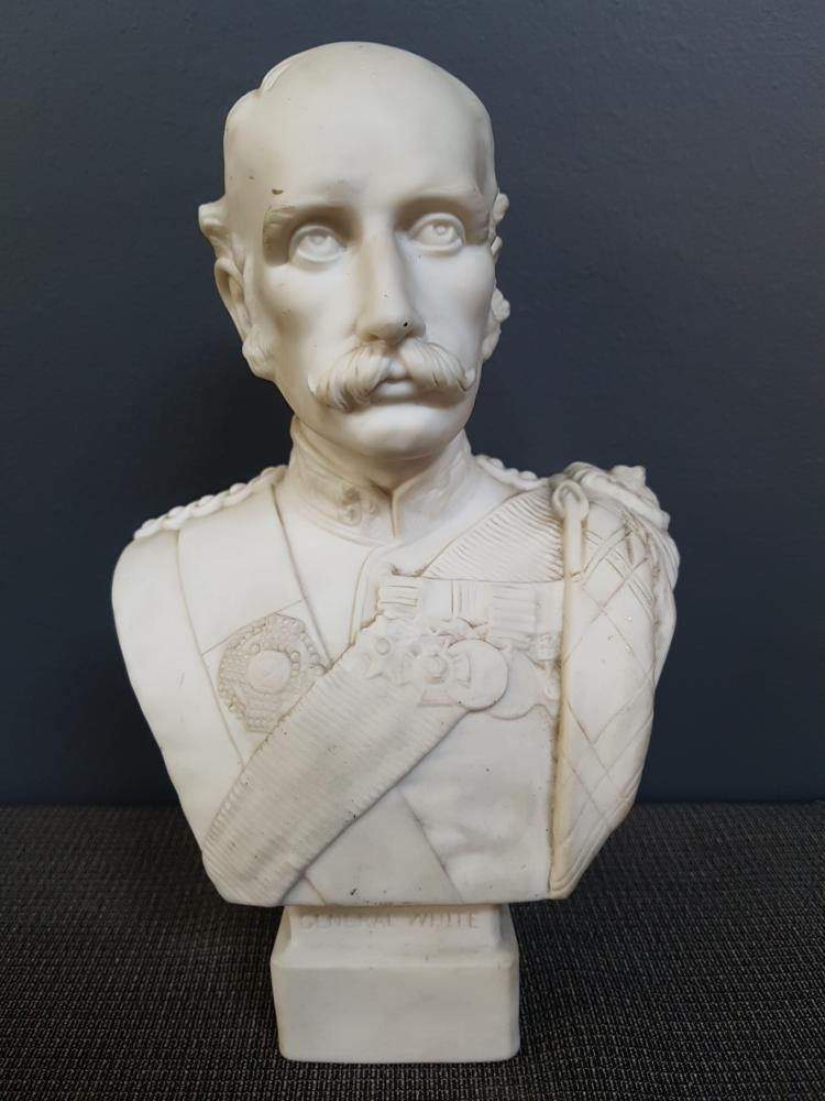 Edwardian Bisque Bust of General White, W.C. Lawton, Feb 24th 1900
