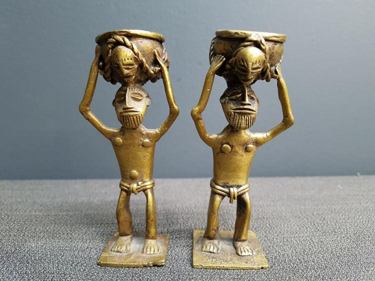 Pair of Brass African Figural Statues