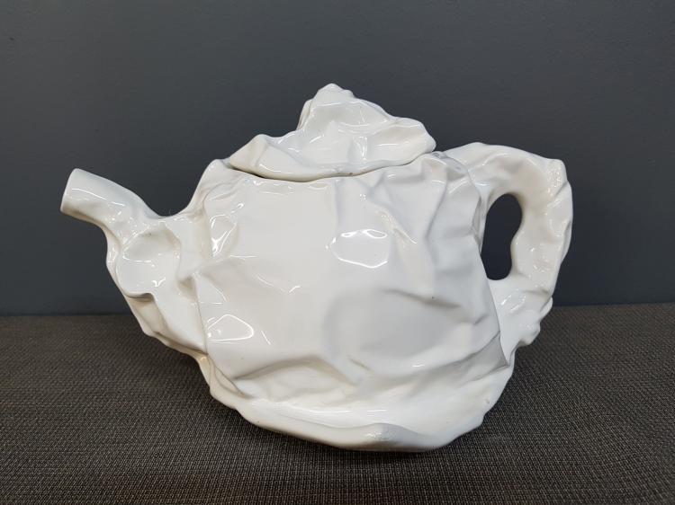 Vintage Crumpled White Porcelain Teapot