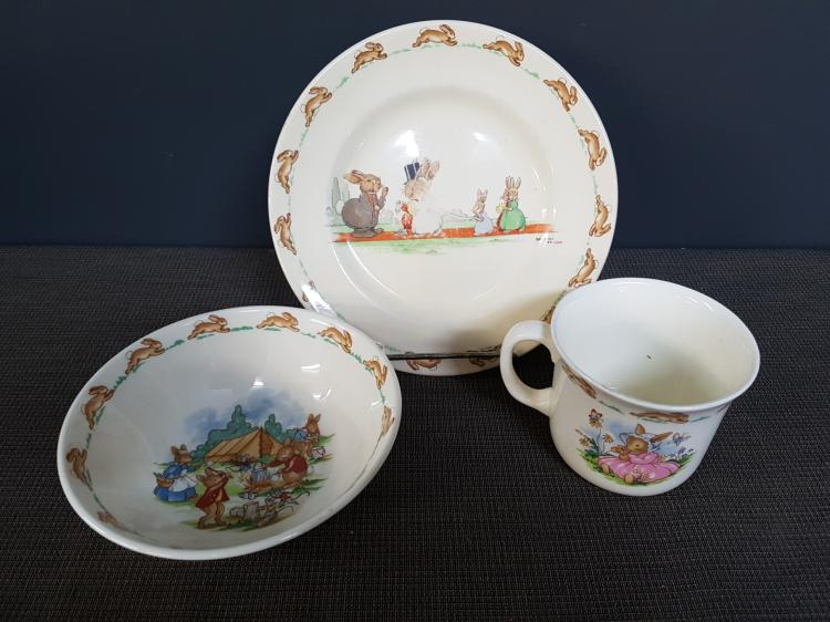 Lot of Three Bunnykins Royal Doulton Cup, Bowl and Plate