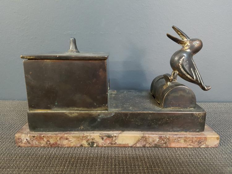 Bronze Bird Cigarette Dispenser on Marble Base