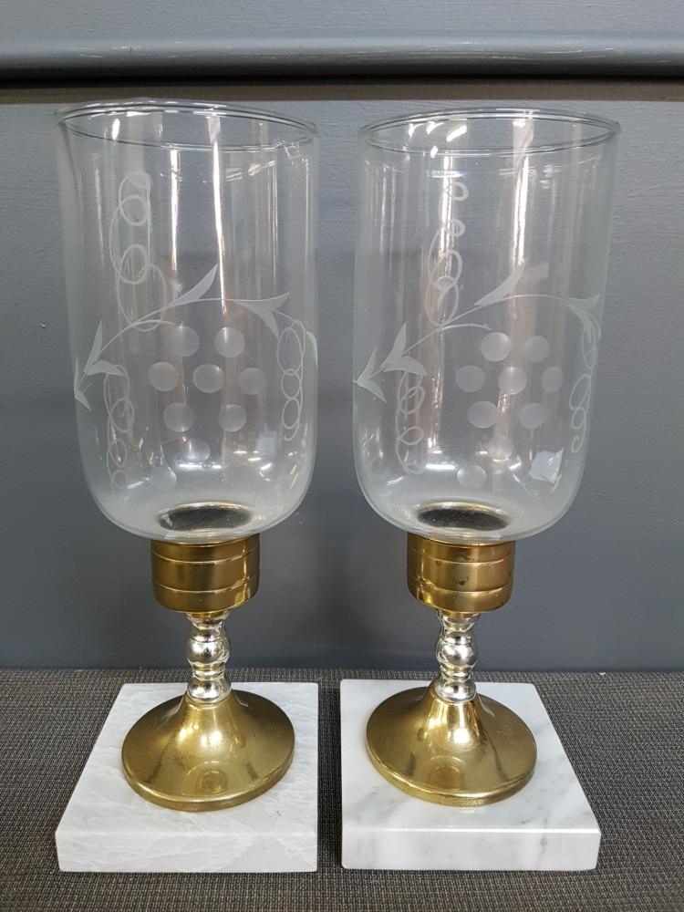 Pair of Vintage Candlesticks with Etched Grapevine Shades