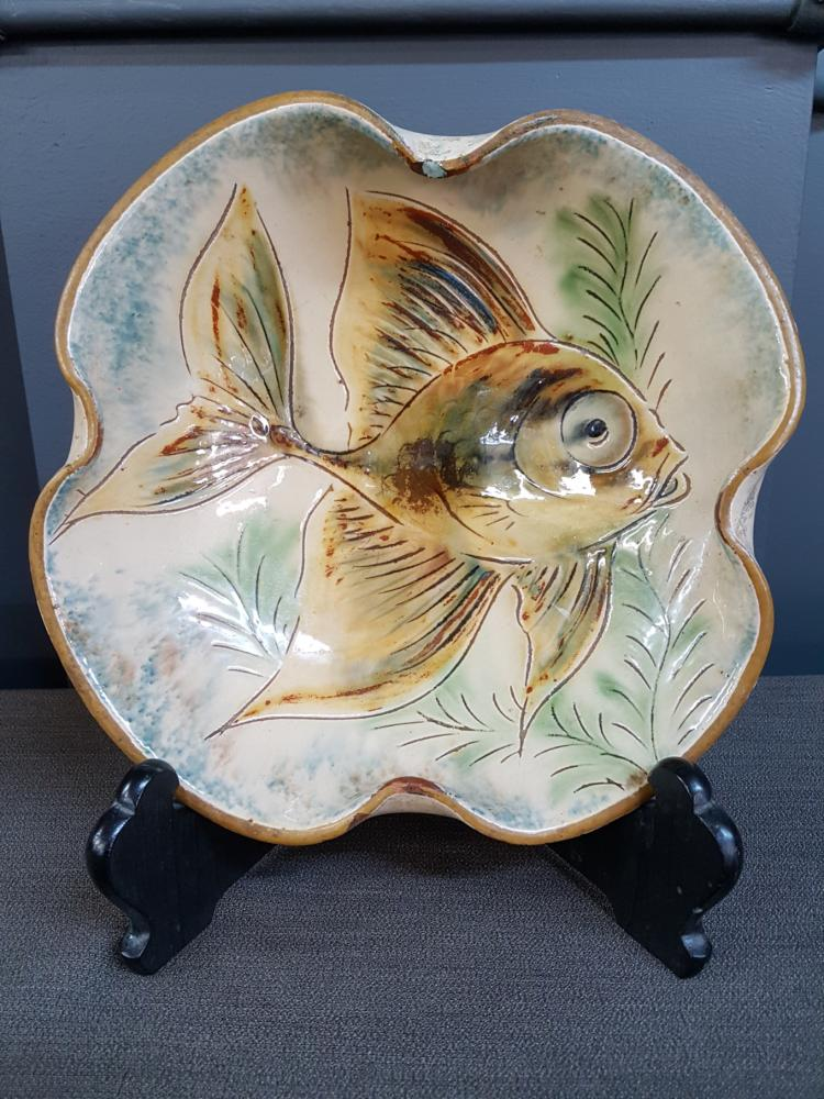 Vintage Pottery Fish Plate, Signed on Base, Small Chip