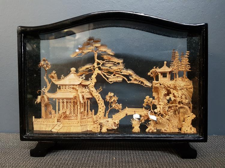 Vintage Chinese Carved Cork Landscape in Wood and Glass Case