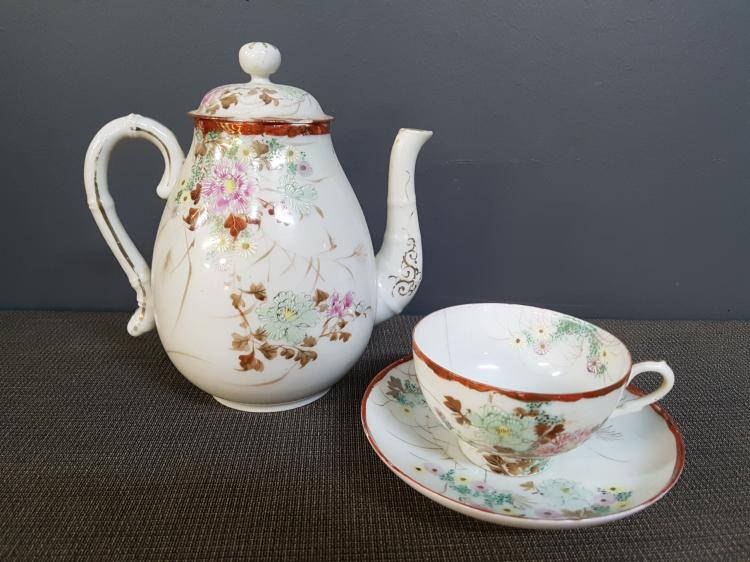 Antique Chinese Handpainted Teacup, Saucer and Teapot