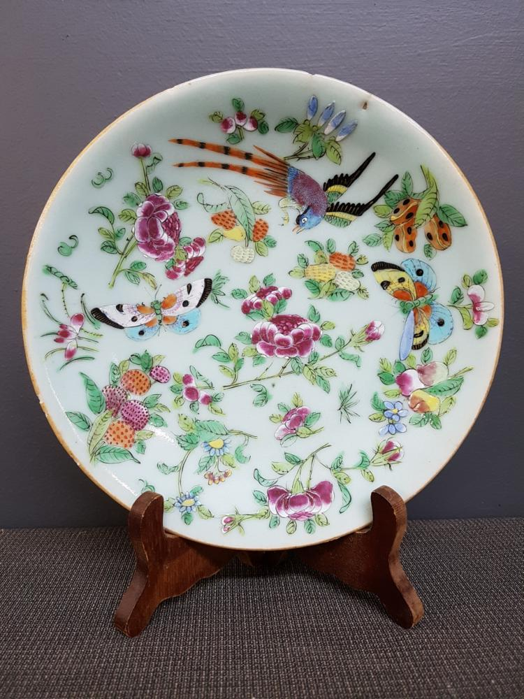 Chinese Plate Decorated with Birds and Butterflies