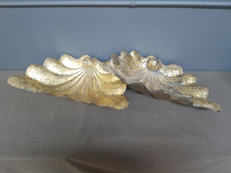 Pair of Carved Gilt Shell Decorative Platters