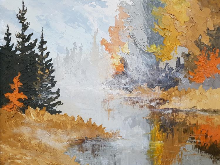 Robert David Simpson Oil on Masonite 1974 Landscape Forest and Creek