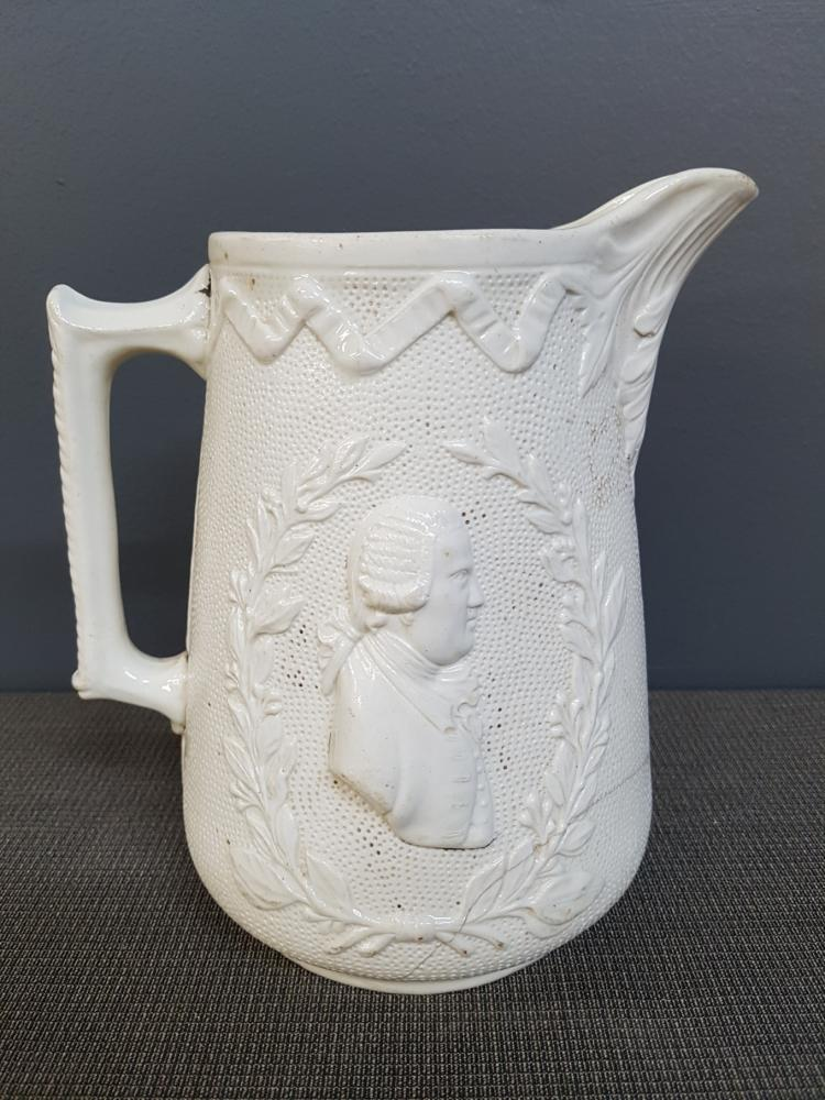 19th Century Tactile White Ceramic Jug