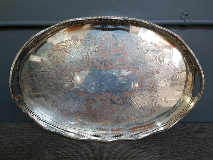 English Silver Plated Serving Tray with Gallery