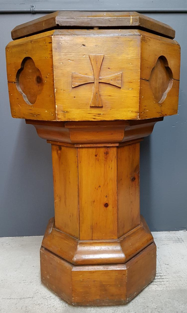Antique Quebec Pine Pedestal Baptismal Font with Attached Crucifix of Christ on Lid