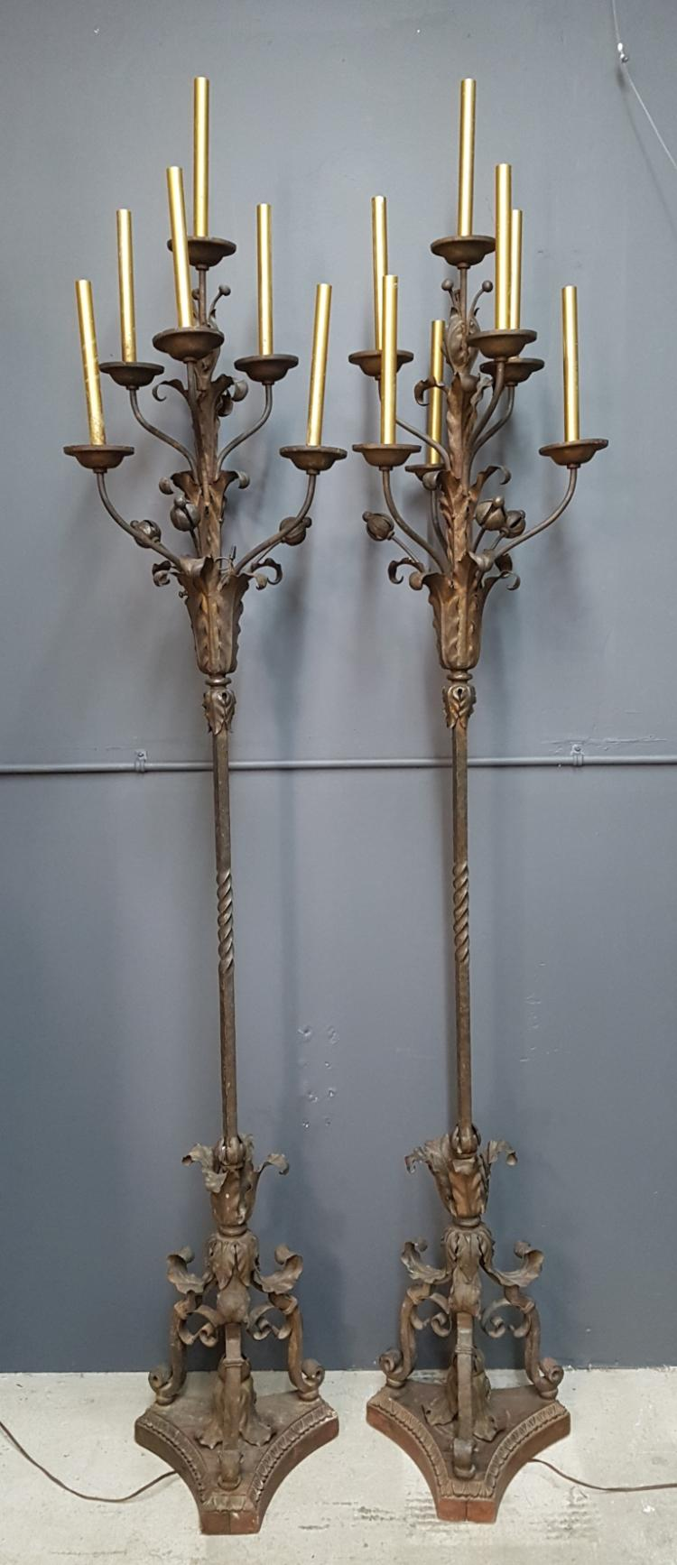Pair of 19th Century Wrought Iron Lamp Standards in the Manner of Paul Beau