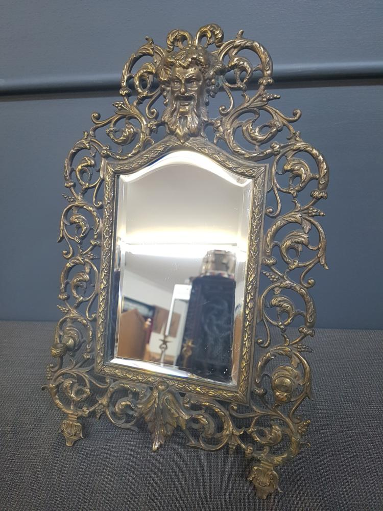 Ornate Antique Brass Mask Mirror