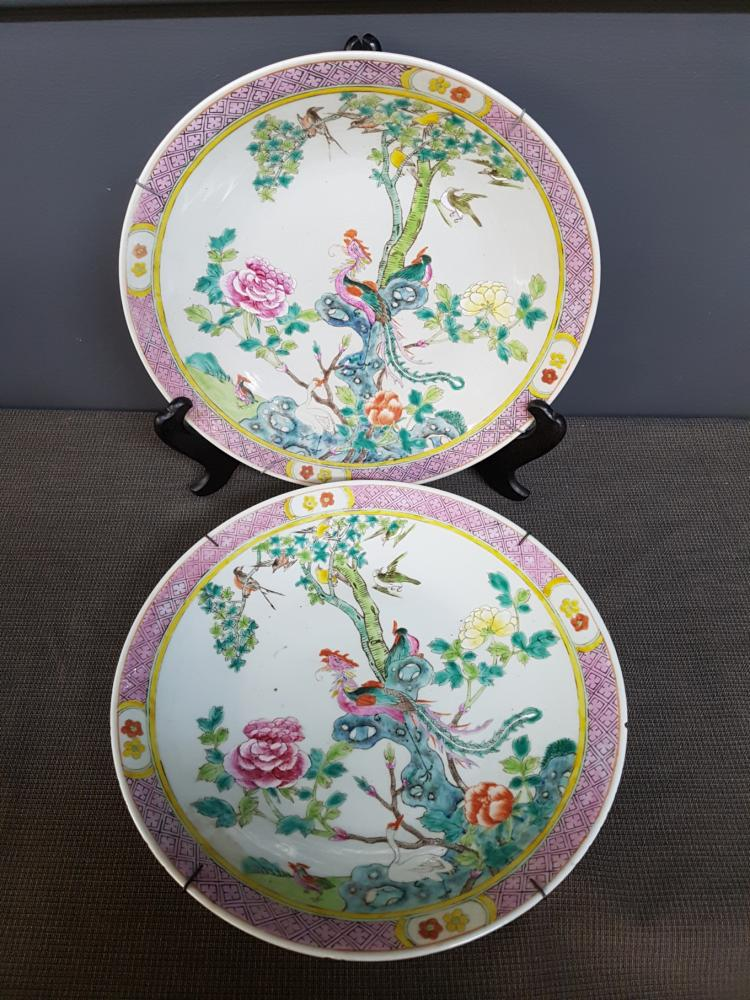 Pair of Phoenix Decorated Chinese Chargers