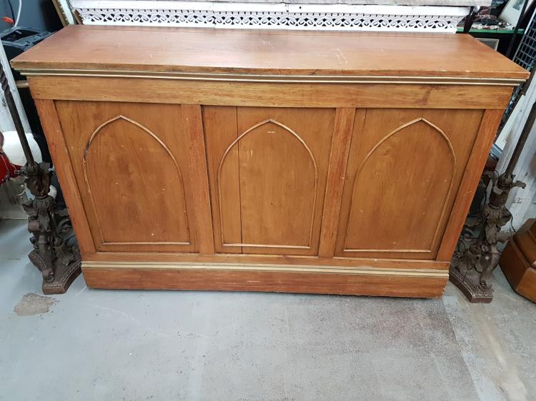 Antique Church Altar with Applied Arches Set in Panels and Gilded Edging