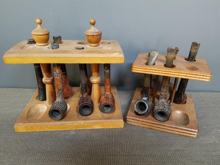 Lot of Vintage Pipes with Stands