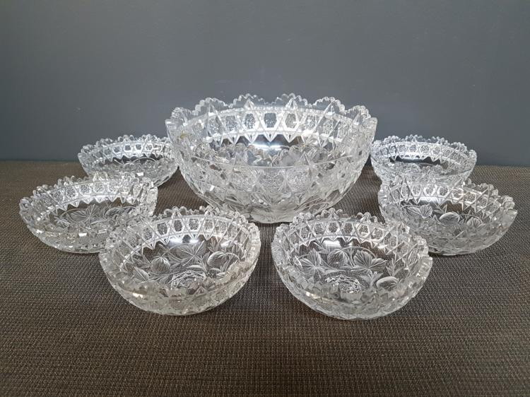 Lot of Etched Crystal Strawberry and Leaf Pattern Berry Bowls