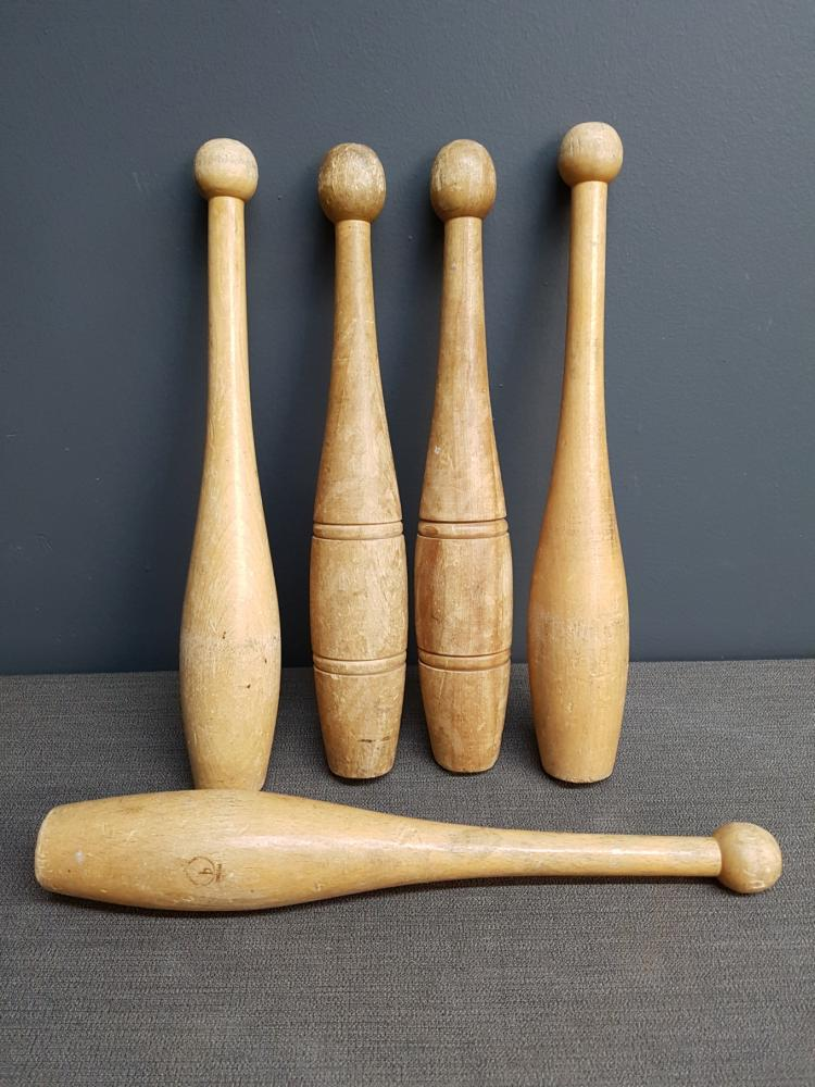 Lot of Wooden Juggling Clubs